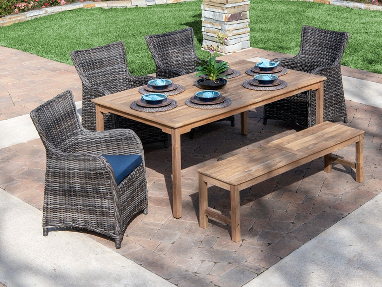 Mandalay Solid Teak Aluminum Outdoor Wicker 6 Pc Bench Dining Setwith 71 X 39 In Solid Teak Dining Table