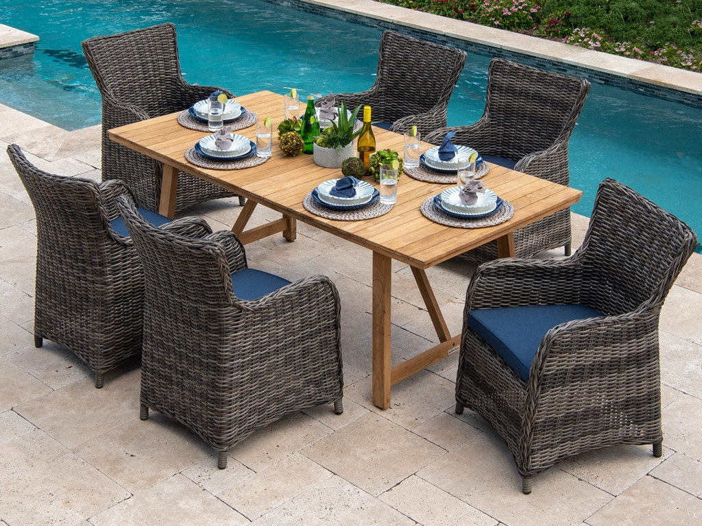 Mandalay Husk Outdoor Wicker and Spectrum Indigo Cushion 9 pc. Dining Set  with 99 x 9 in. Dining Table