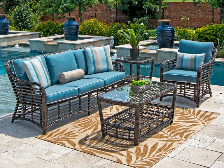 Maui Pecan Aluminum And Outdoor Wicker 3 Pc Cushion Sofa Groupwith 46 X 24 In Coffee Table