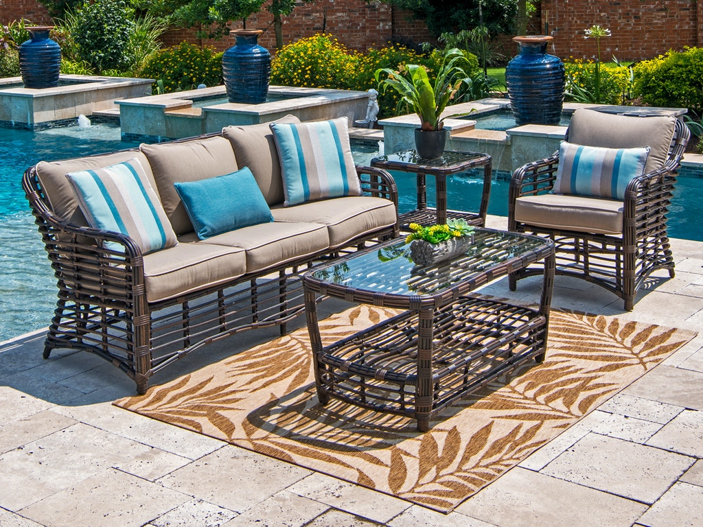Tremendous Maui Pecan Aluminum And Outdoor Wicker 3 Pc Cushion Sofa Groupwith 46 X 24 In Coffee Table Best Image Libraries Weasiibadanjobscom