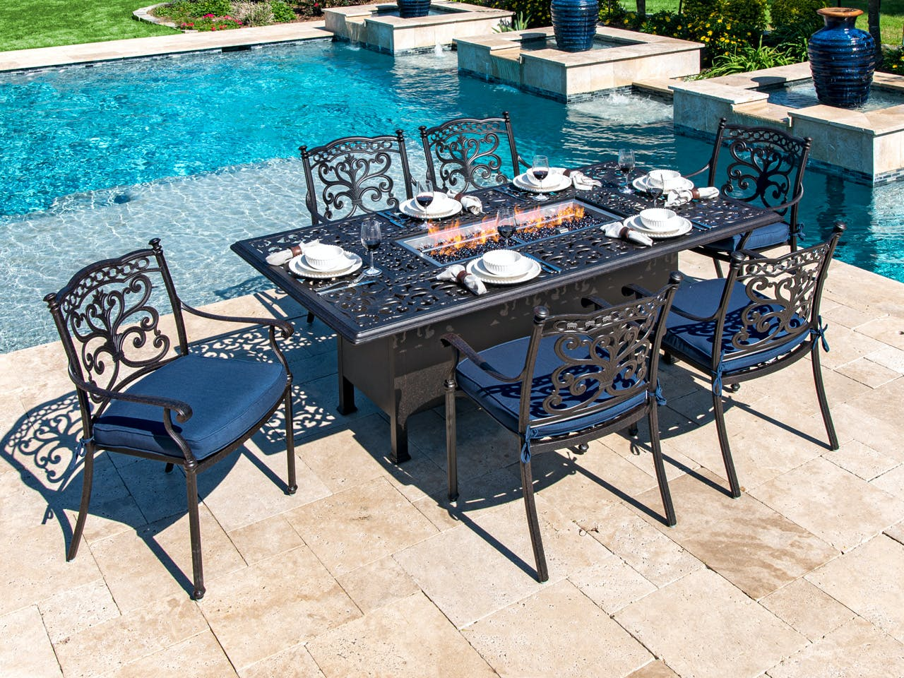 Image of: Living Room Milan Aged Bronze Cast Aluminum 7 Pc Dining Set With 84 X 44 In Fire Pit Table