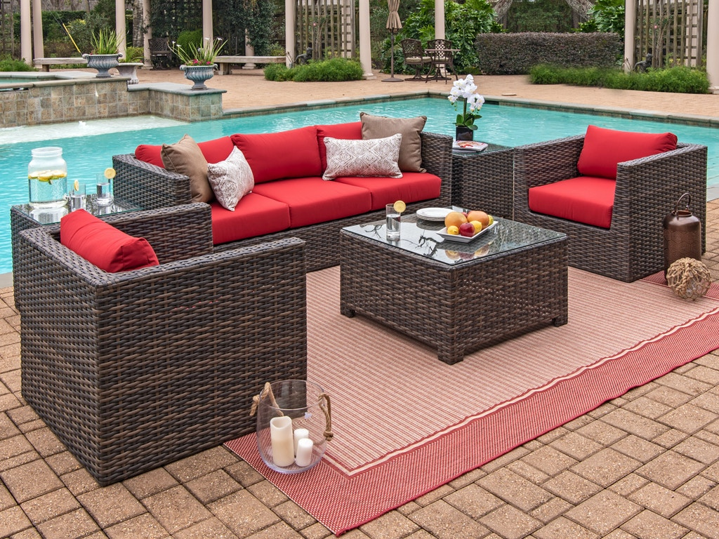 Living Room Modena Aspen Outdoor Wicker 4 Pc Spectrum Cherry Cushion Sofa Seating With 32 X 32 In