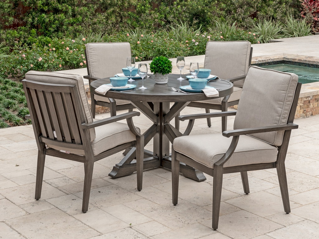 Monaco Weathered Teak Aluminum 5 Pc. Dining Setwith a 48 in. Aluminum  Dining Table