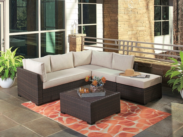 Monticello Espresso Outdoor Wicker 4 Pc. Latte Linen Cushion Sectional  Group with 29 in. Resin Wood Top Coffee Table