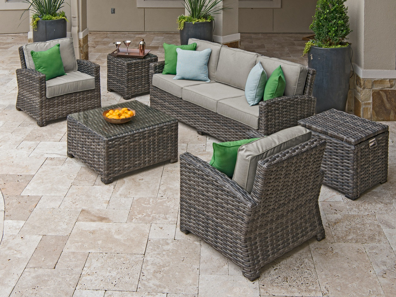 Contempo Husk Aluminum And Outdoor Wicker 4 Pc. Cushion Sofa Group With A  32 In