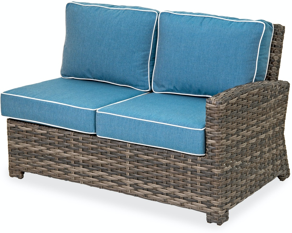 Contempo Cushion Aluminum and Outdoor Wicker Right Arm Facing Reclining  Loveseat with Cast Lagoon Sunbrella® Cushions
