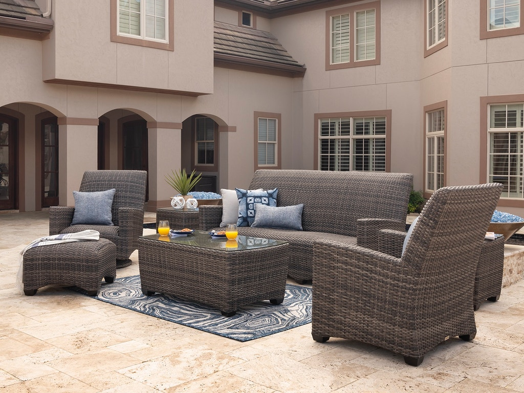 sydney husk outdoor wicker and concealed cushion 4 pc sofa group with 44 x 24 in coffee table and swivel club chairs
