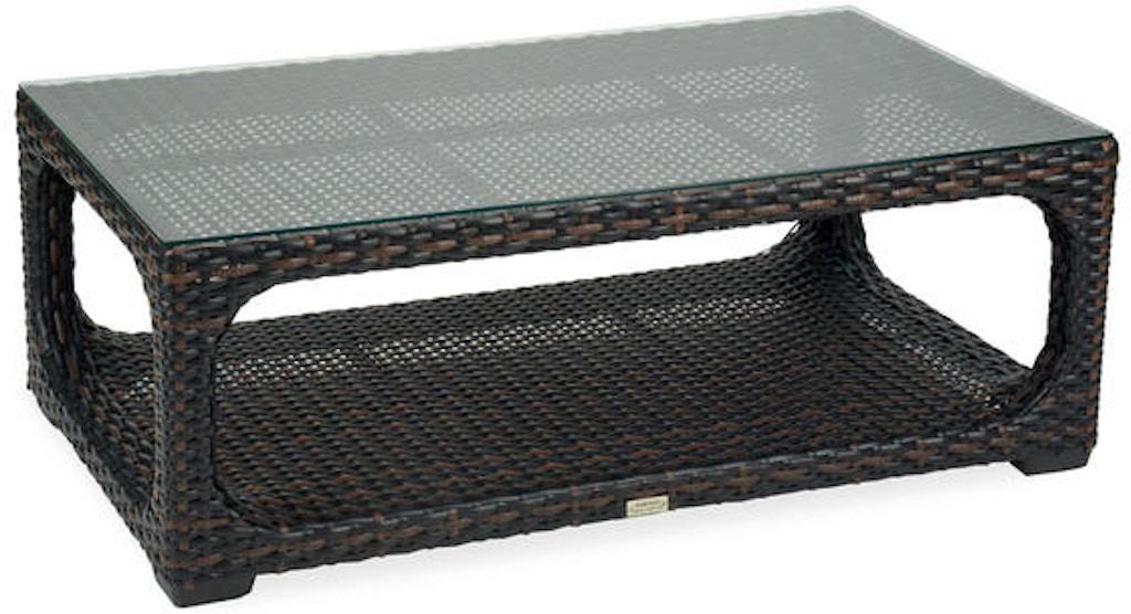 Tangiers 46 X 26 Rectangular Aluminum Woven Outdoor Wicker Gl Top Coffee Table