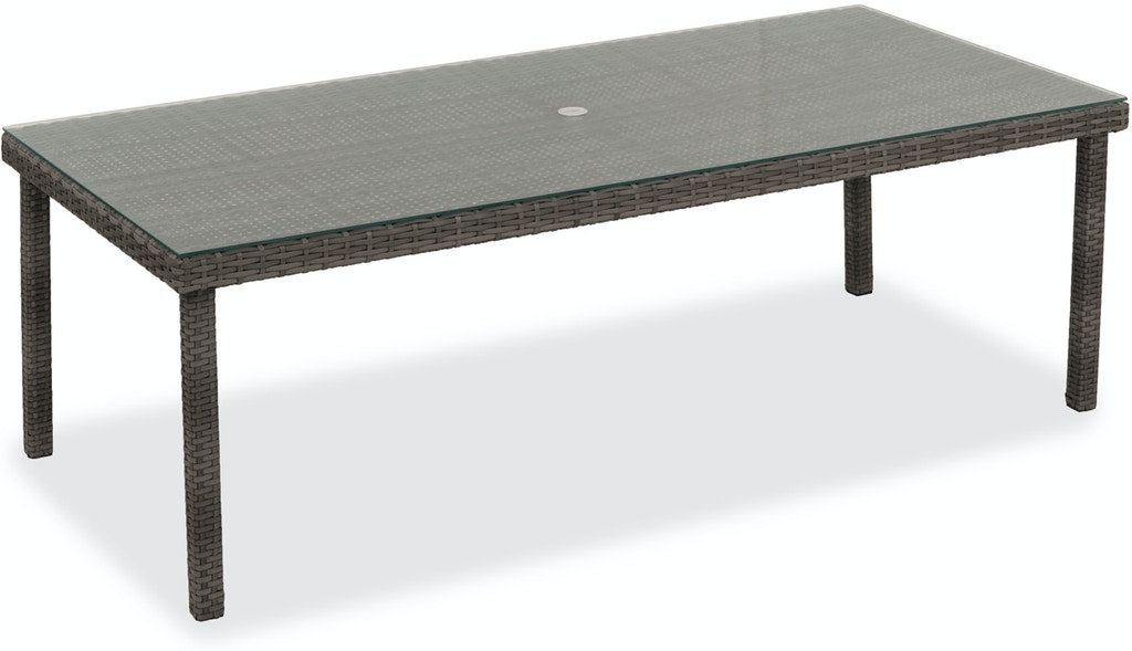 Outdoor Patio Havana Saddle Grey Outdoor Wicker Glass Top 90x42 In Dining Table 3522594 Chair