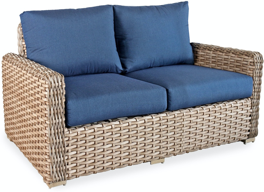 Siesta Aged Teak Aluminum and Outdoor Wicker Cushion Sofa