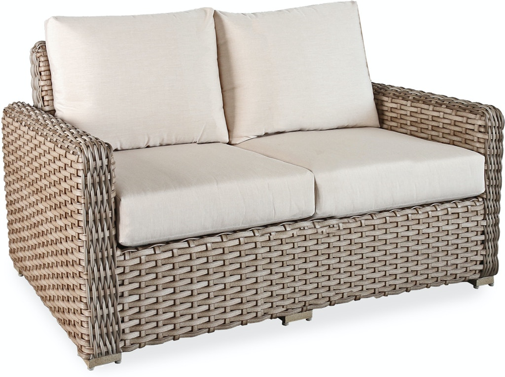 Siesta Aged Teak Aluminum and Outdoor Wicker Loveseat