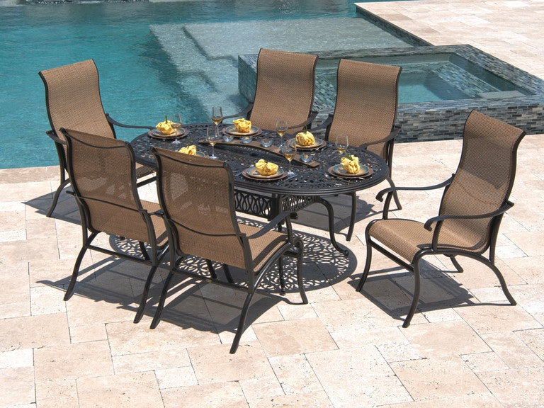 Scarsdale Sling Pc Aluminum Dining Setwith 72 X 42 Oval Cast Table 3475775