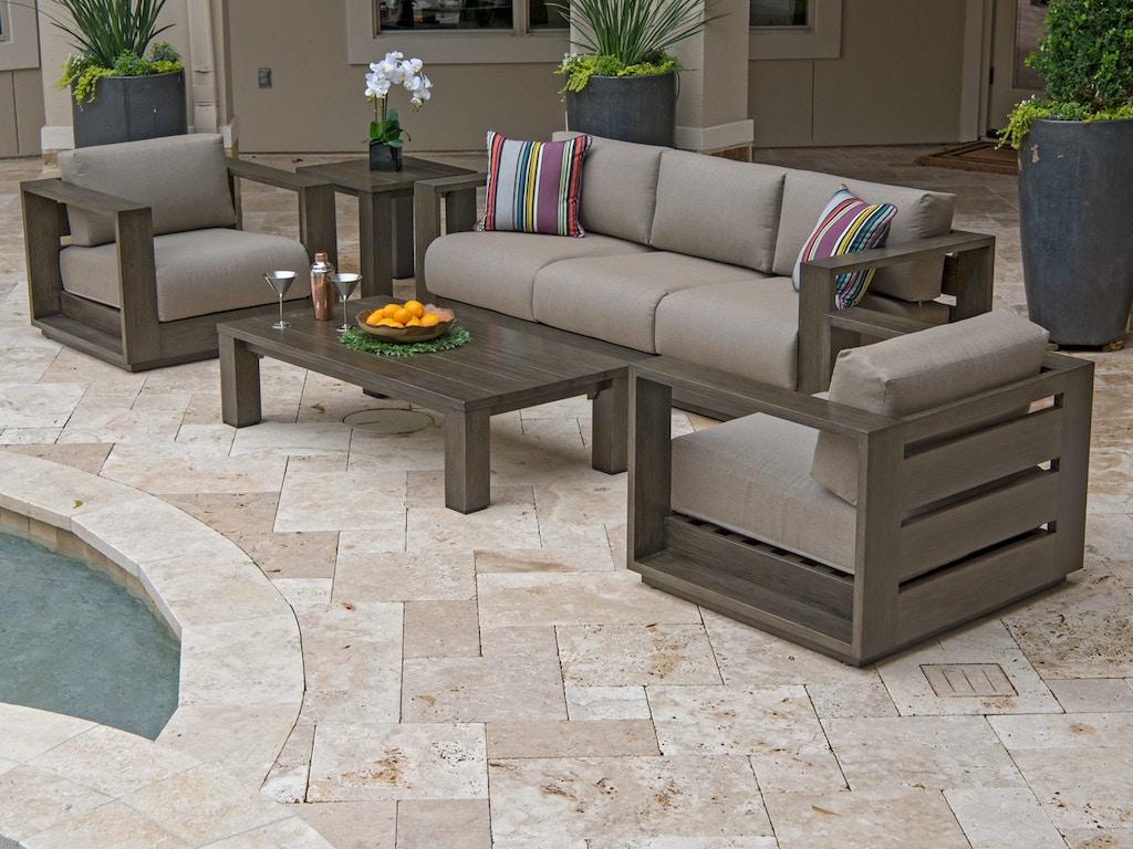 Palisades Weathered Teak Aluminum 4 Pc. Cushion Sofa Groupwith 55 x 28 in.  Coffee Table