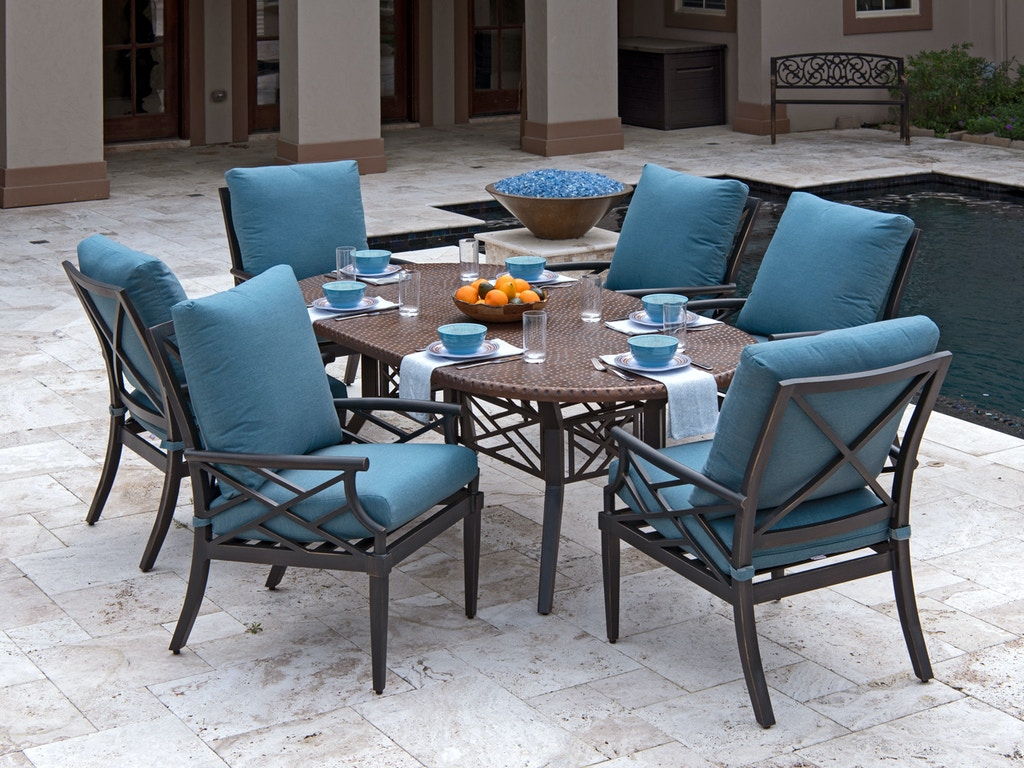Living Room Essex Brushed Bronze Aluminum 7 Pc Cushion Dining Set With 84 X 44 In Dining Table