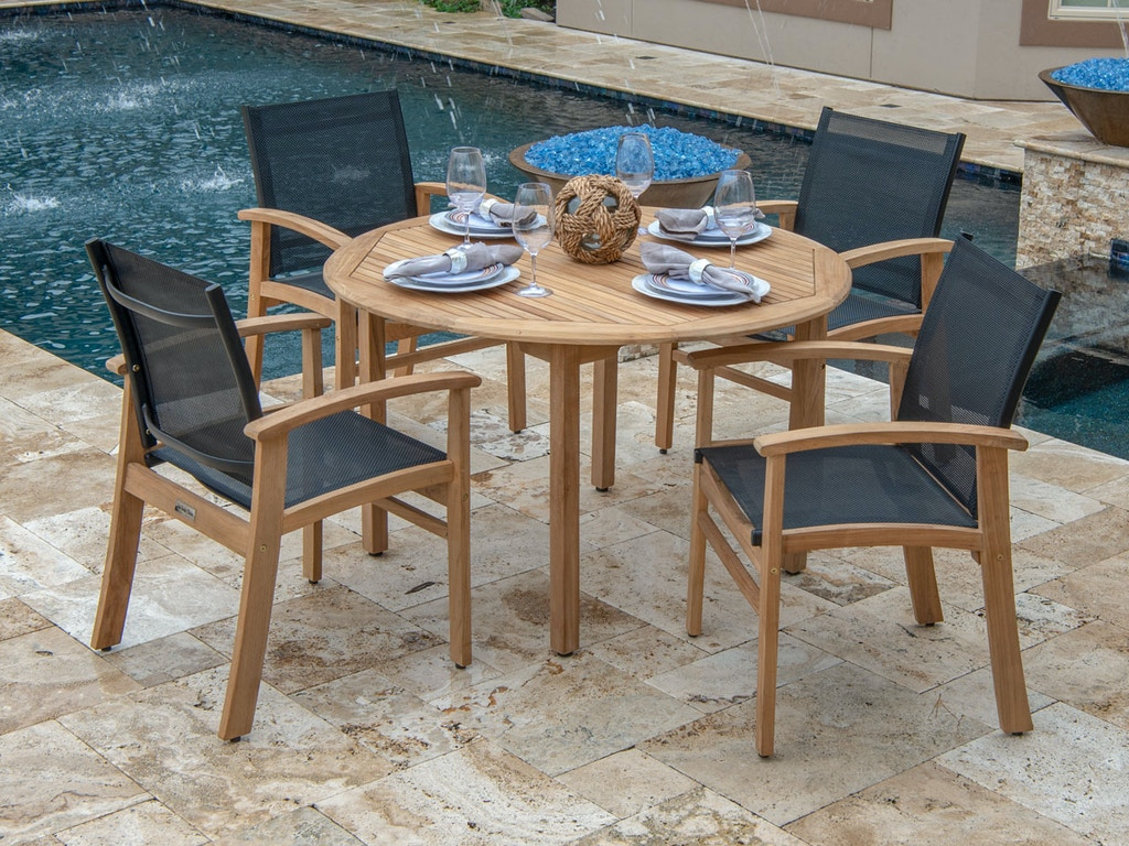 Prime Sedona Natural Stain Teak And Sling 5 Pc Dining Set With 48 In Camden Teak Dining Table Short Links Chair Design For Home Short Linksinfo