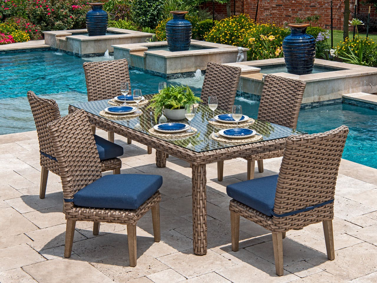 Picture of: Living Room Siesta Aged Teak Outdoor Wicker With Spectrum Indigo Cushion 7 Pc Dining Set With 84 X