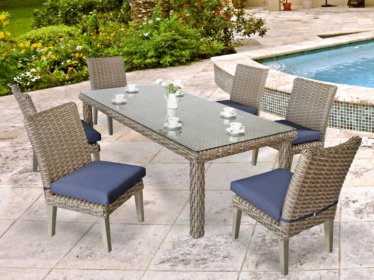 Siesta Aged Teak Outdoor Wicker 7 Pc Cushion Dining Setwith 84 X 40 In