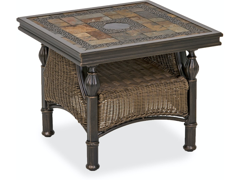 Barcelona 27 Square Aluminum Outdoor Wicker Red Slate Top End Table