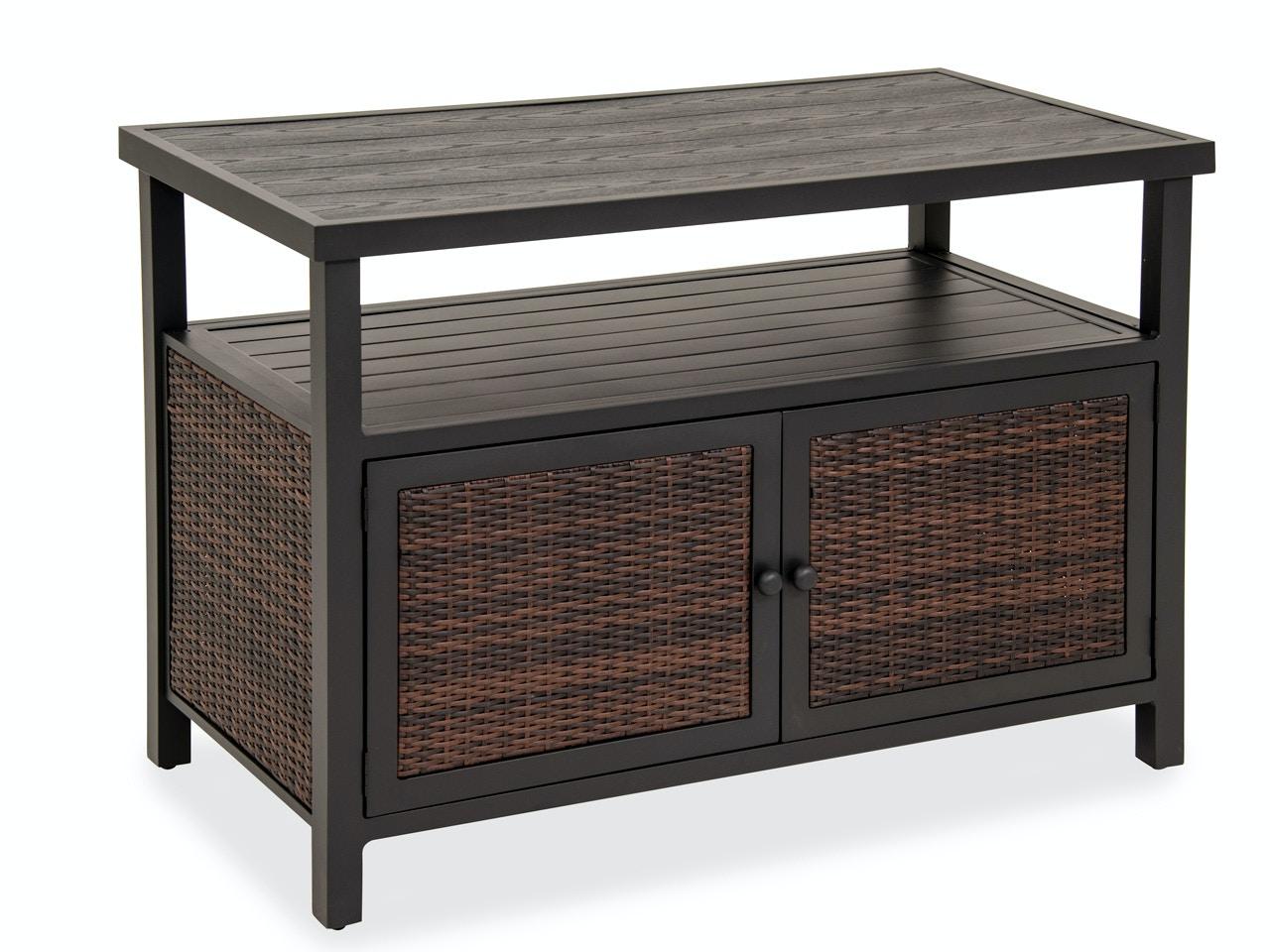 Ibiza Aluminum U0026 Outdoor Wicker Console Storage Table 3522542