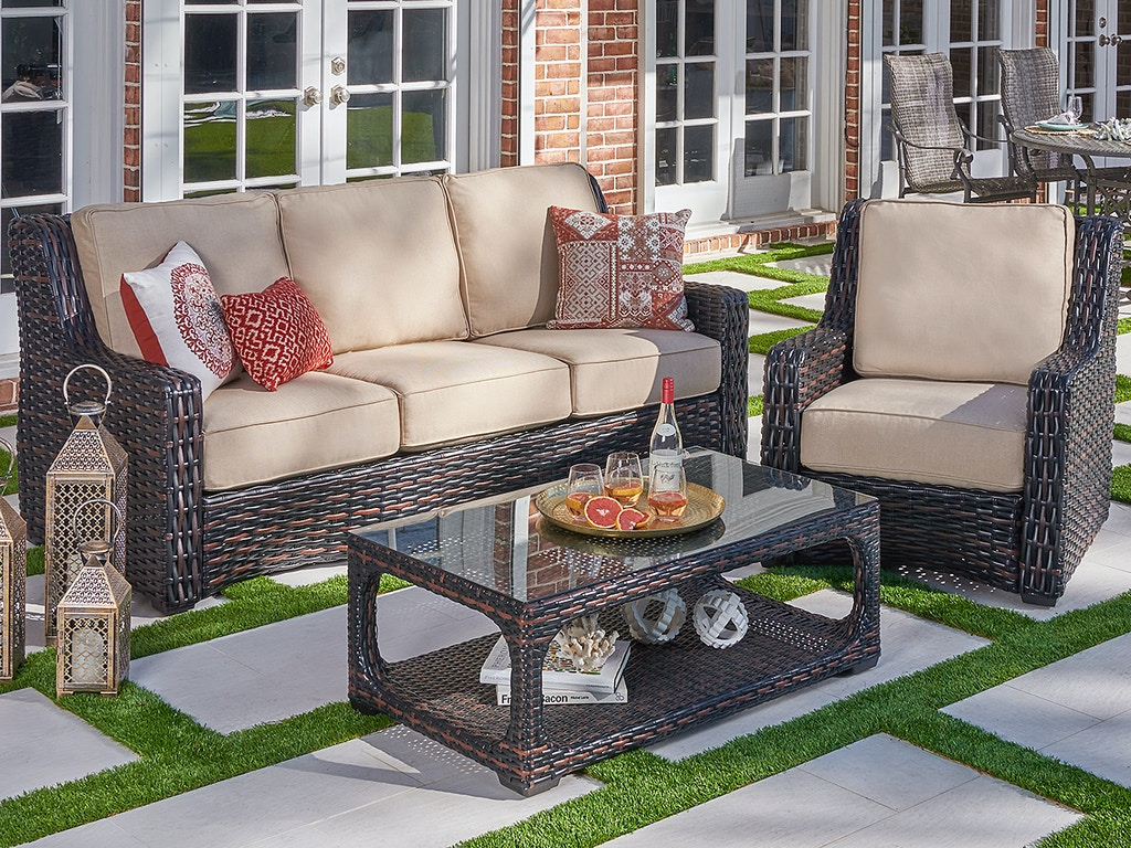 tangiers cabernet outdoor wicker and sailcloth sahara cushion 3 pc sofa group with 46 x 26 in glass top coffee table