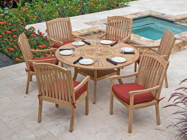 "Grade-A Teak Wood 20/"" Lazy Susan W// Umbrella Hole Outdoor Dining Garden Patio"