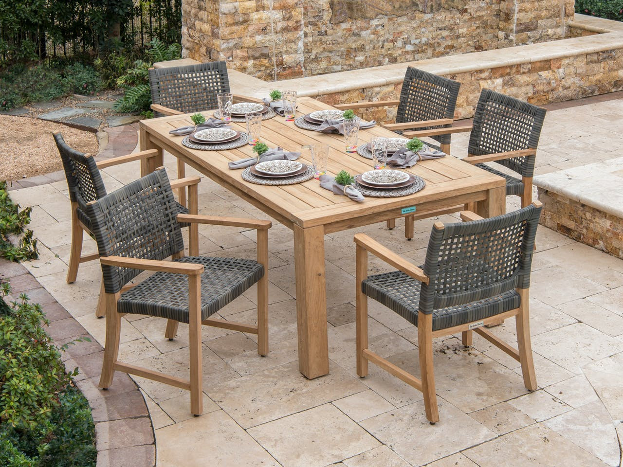 Living Room Hampton Driftwood Aluminum Outdoor Wicker And Solid Teak 7 Pc Dining Set With 79 X 43