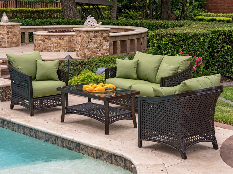 Tortuga Mahogany Aluminum And Outdoor Wicker 4 Pc Cushion Loveseat Group With 48 X 24 In Coffee Table