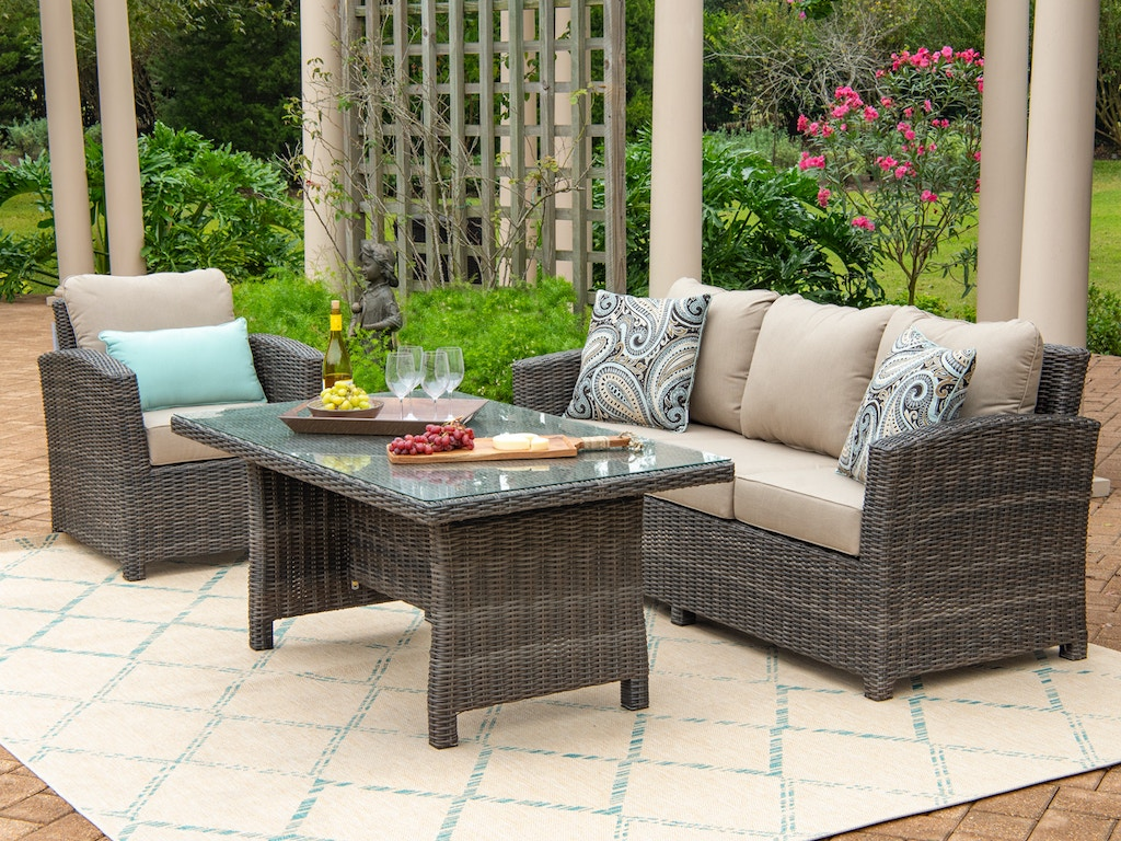 Venice Silver Oak Outdoor Wicker 3 Pc Spectrum Mushroom Cushion Seating With 59 X 32 In Gl Top Coffee Table