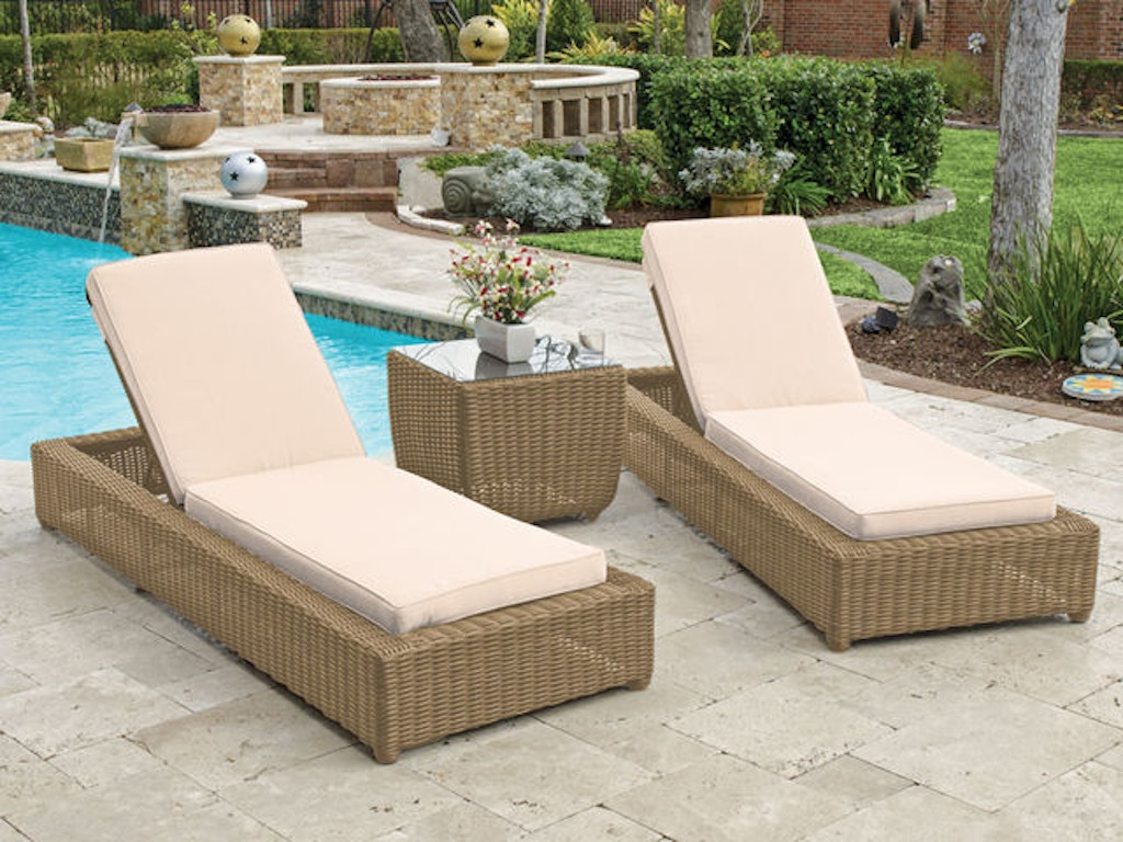 Malibu Driftwood Outdoor Wicker 3 Pc Canvas Flax Cushion Cabana Chaise Set