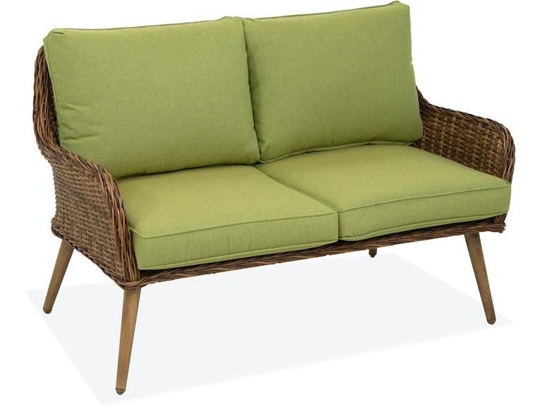 Peachy Roma Pecan Aluminum And Outdoor Wicker Cushion Loveseat Beutiful Home Inspiration Aditmahrainfo