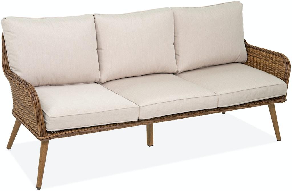Roma Pecan Aluminum and Outdoor Wicker Cushion Sofa