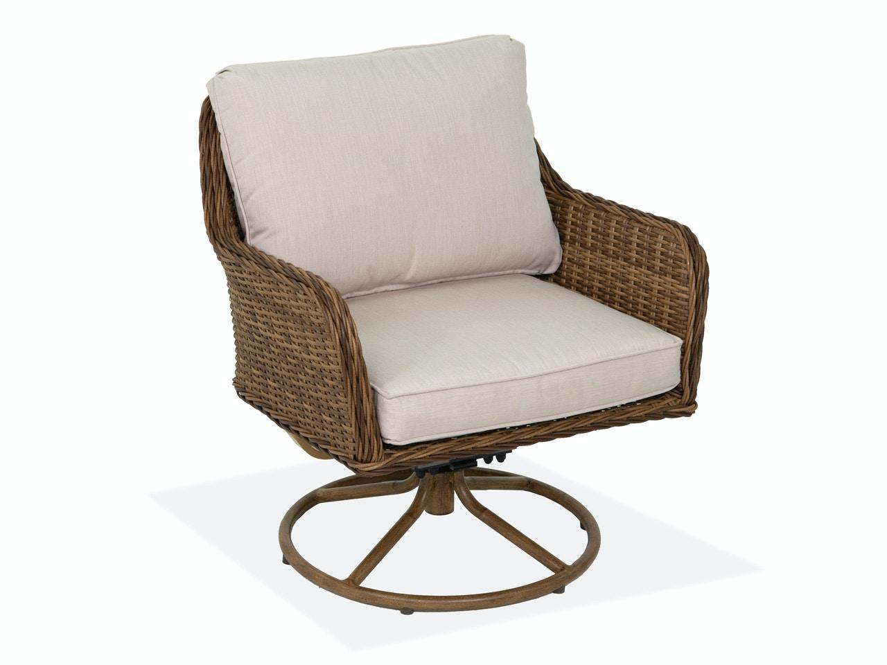 Roma Pecan Outdoor Wicker Swivel Rocker Club Chair 3519898