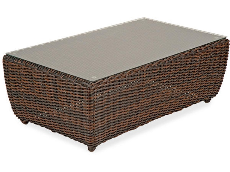 Biscayne 48 X 28 Rectangular Aluminum Woven Outdoor Wicker Coffee Table With Gl Top 2639490