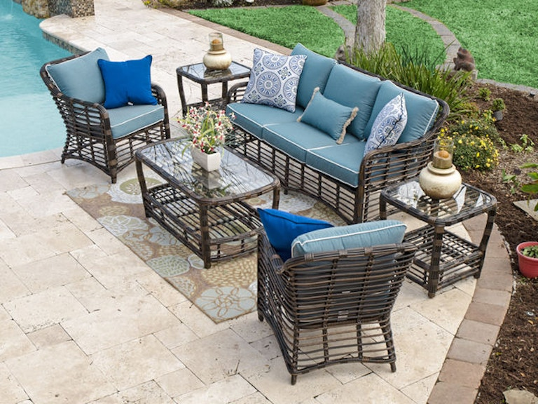Maui Pecan Aluminum And Outdoor Wicker 4 Pc Cushion Sofa Groupwith 46 X 24 In Coffee Table