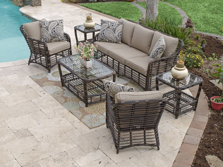 Maui Pecan Aluminum And Outdoor Wicker 4 Pc Sofa Groupwith 46 X 24 In