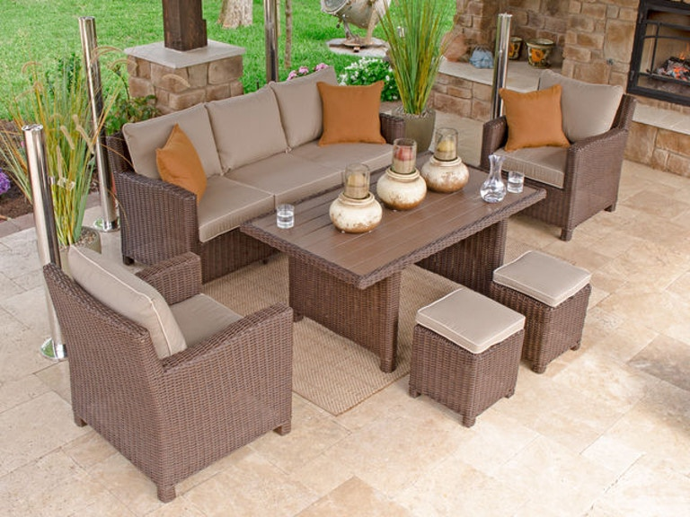 Panama 6 Pc Aluminum Woven Resin Wicker Lounge Dining Set