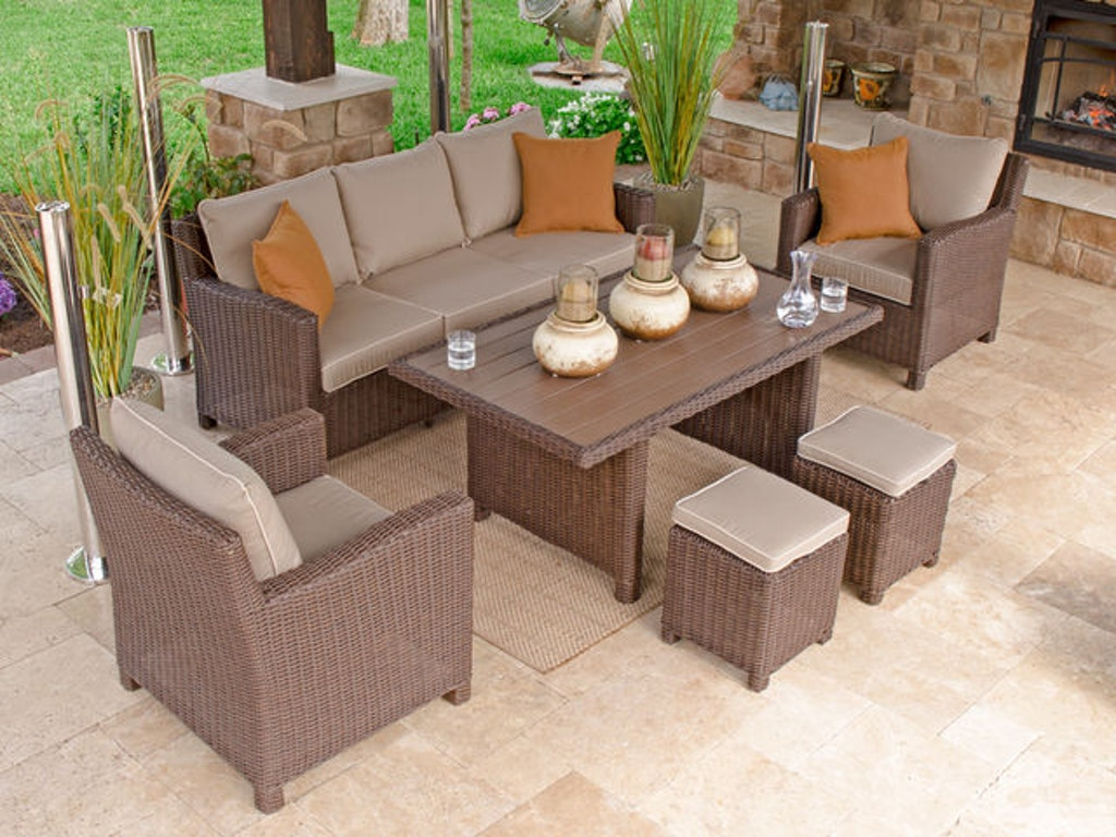 Outdoorpatio Panama 6 Pc Aluminum Woven Resin Wicker Lounge