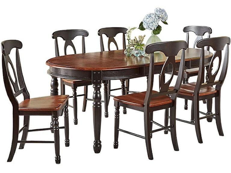 A-America British Isles Black/Cherry Dining Table Set BRI-OB-6-31