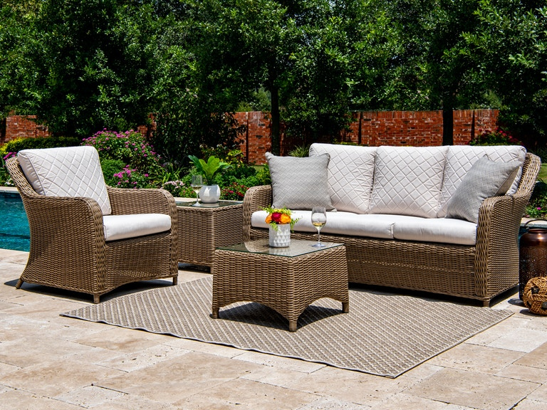 Awe Inspiring Portofino Parchment Aluminum And Outdoor Wicker 3 Pc Cushion Seating Group With 41 X 20 In Coffee Table Creativecarmelina Interior Chair Design Creativecarmelinacom