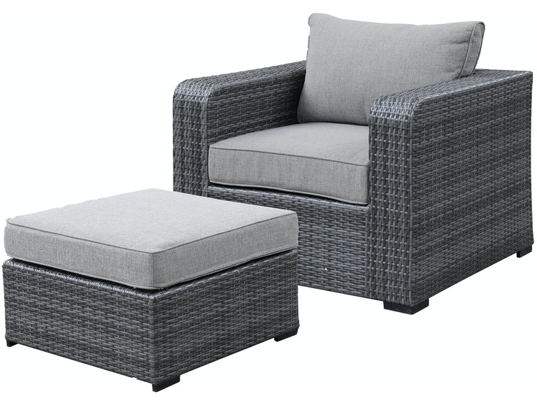 Cool Amalfi Grey Outdoor Wicker 2 Pc Smoke Linen Club Chair And Ottoman Group Dailytribune Chair Design For Home Dailytribuneorg