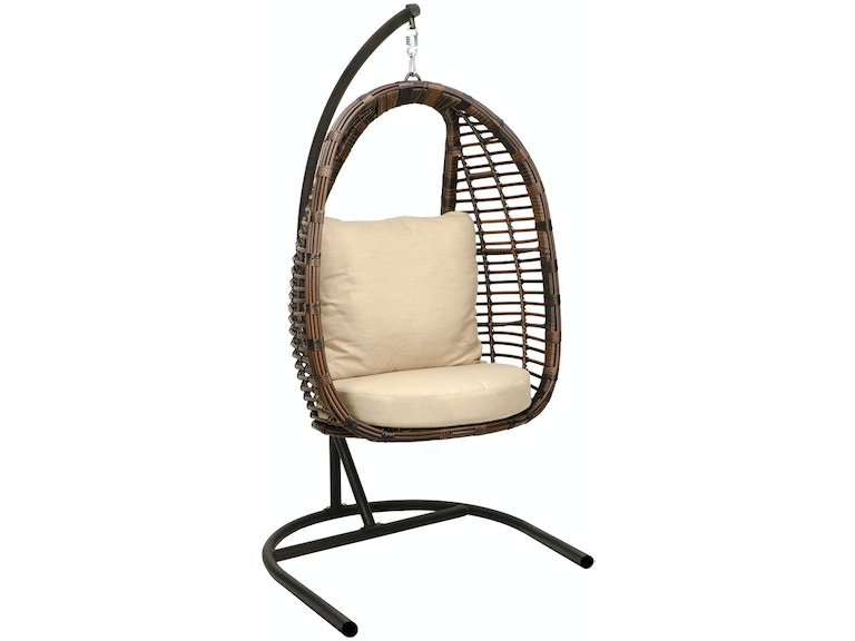 Super Cozy Swing Sangria Aluminum Outdoor Wicker Hanging Chair With Stand Bralicious Painted Fabric Chair Ideas Braliciousco