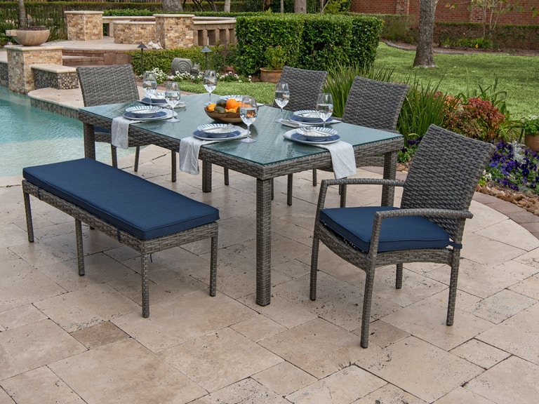 Outstanding Havana Saddle Grey Aluminum And Outdoor Wicker 6 Pc Dining Set With 72 X 42 In Glass Top Table Onthecornerstone Fun Painted Chair Ideas Images Onthecornerstoneorg