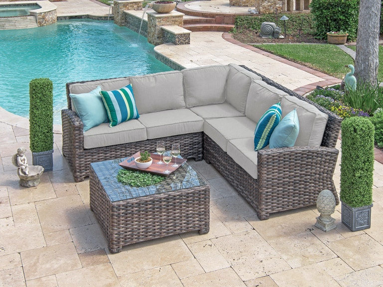 Contempo Weathered Teak Aluminum and Outdoor Wicker 3 Pc. Cushion Sofa Set