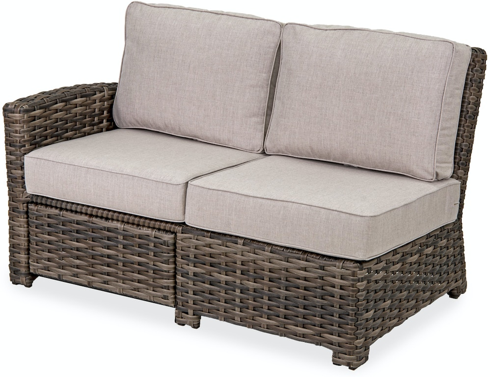 Groovy Contempo Weathered Teak Aluminum And Outdoor Wicker Cushion Left Arm Loveseat With Recliner Andrewgaddart Wooden Chair Designs For Living Room Andrewgaddartcom