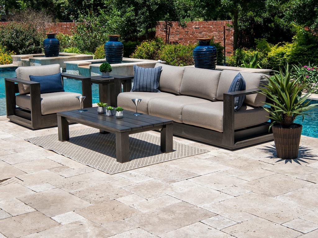 Palisades Weathered Teak Aluminum 3 Pc. Cushion Sofa Groupwith 55 x 28 in.  Coffee Table