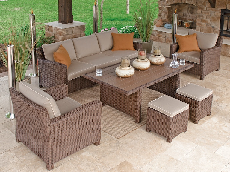 Panama Pecan Aluminum And Resin Wicker 4 Pc Cushion Lounge Dining Set With 59 X 33 In Slat Top Table
