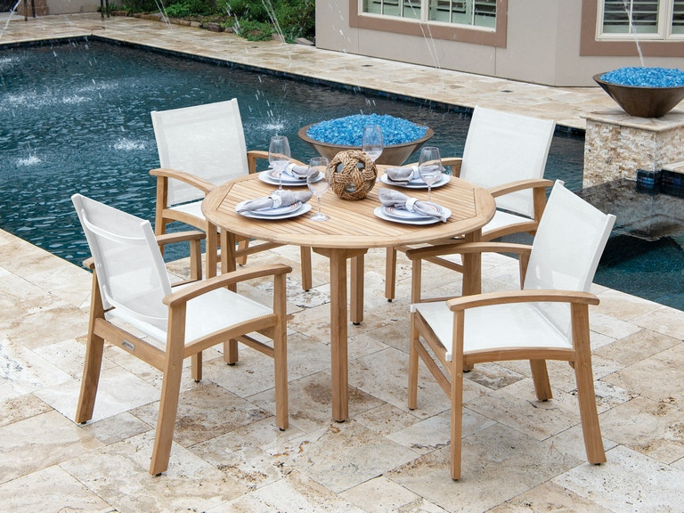 Outdoor Patio Sedona Natural Stain Teak And Sling 5 Pc