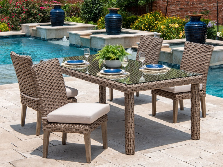 Siesta Aged Teak Aluminum and Outdoor Wicker 5 Pc. Side Chair Dining Set  with 84 x 40 in. Dining Table