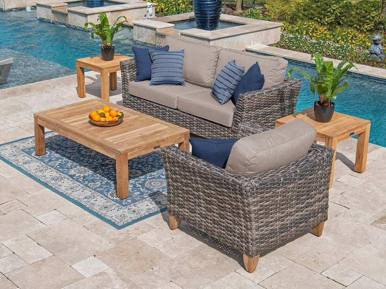 Mandalay Husk Outdoor Wicker 3 Pc Cast Ash Cushion Sofa Group With 55 X 32 In Teak Coffee Table
