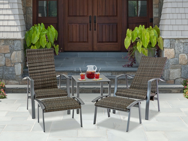 Pleasing Ventura Pewter Aluminum And Padded Wicker 5 Pc Adjustable Chair Set With Ottomans And End Table Machost Co Dining Chair Design Ideas Machostcouk